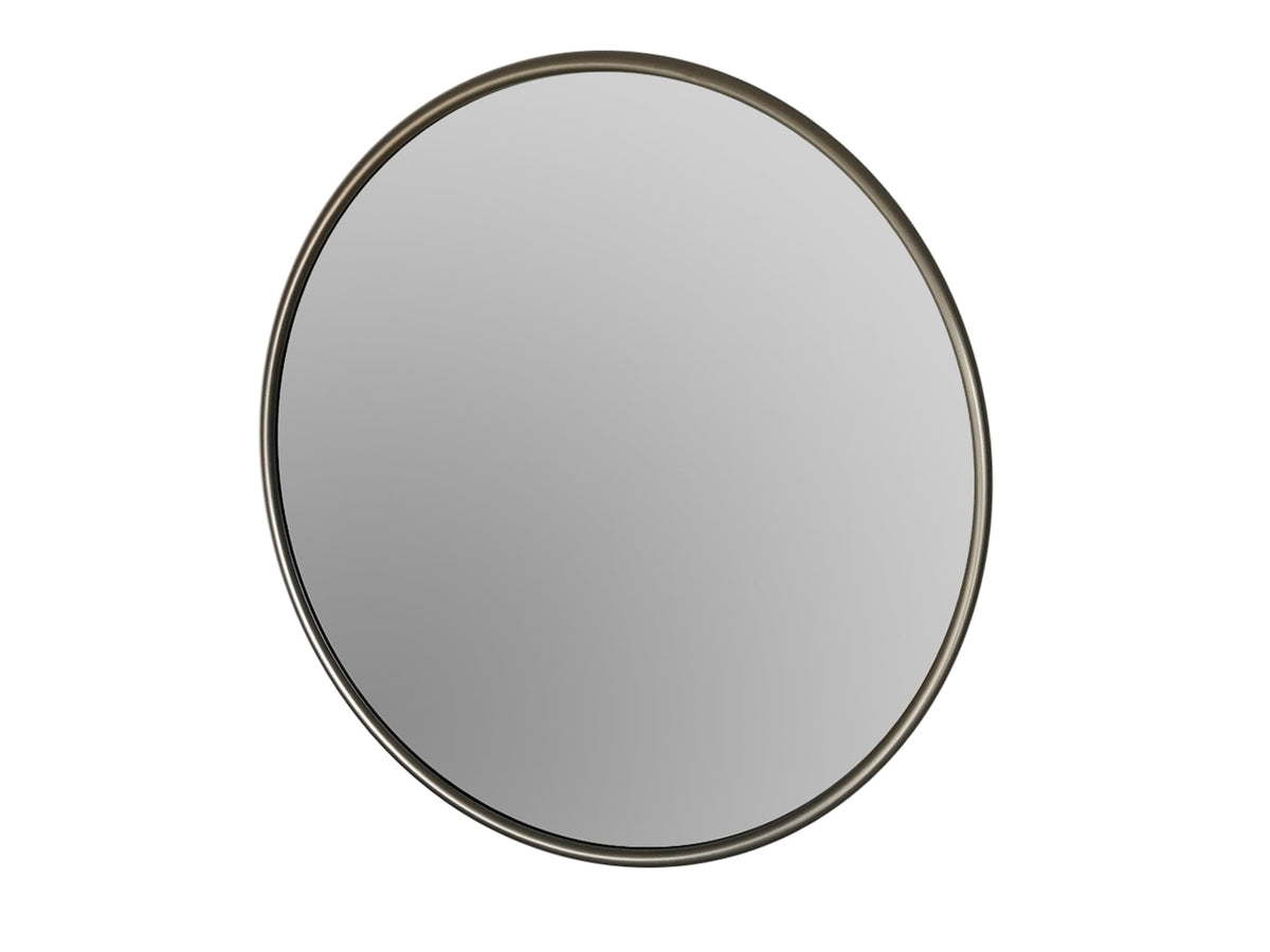 Contemporary Round Mirror in Silver Metal Frame