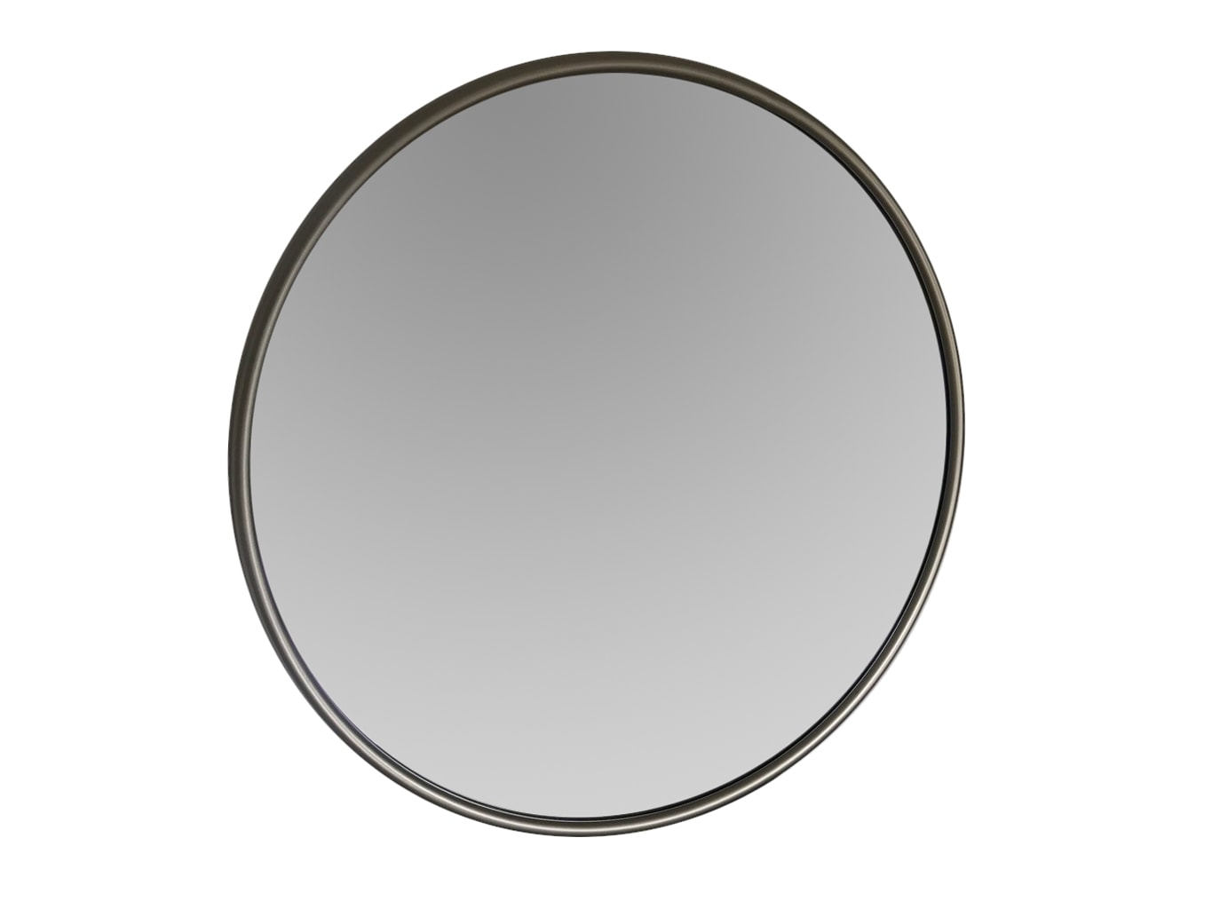 Round Silver Wall Mirror in Contemporary Frame