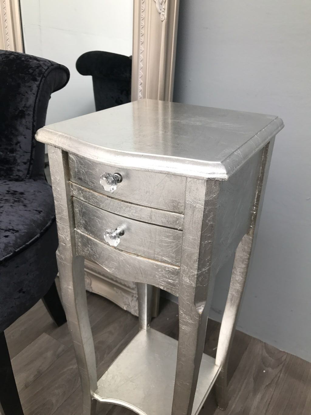 Pair of Silver Leaf Finish French Style Bedside Tables with 2 Drawers