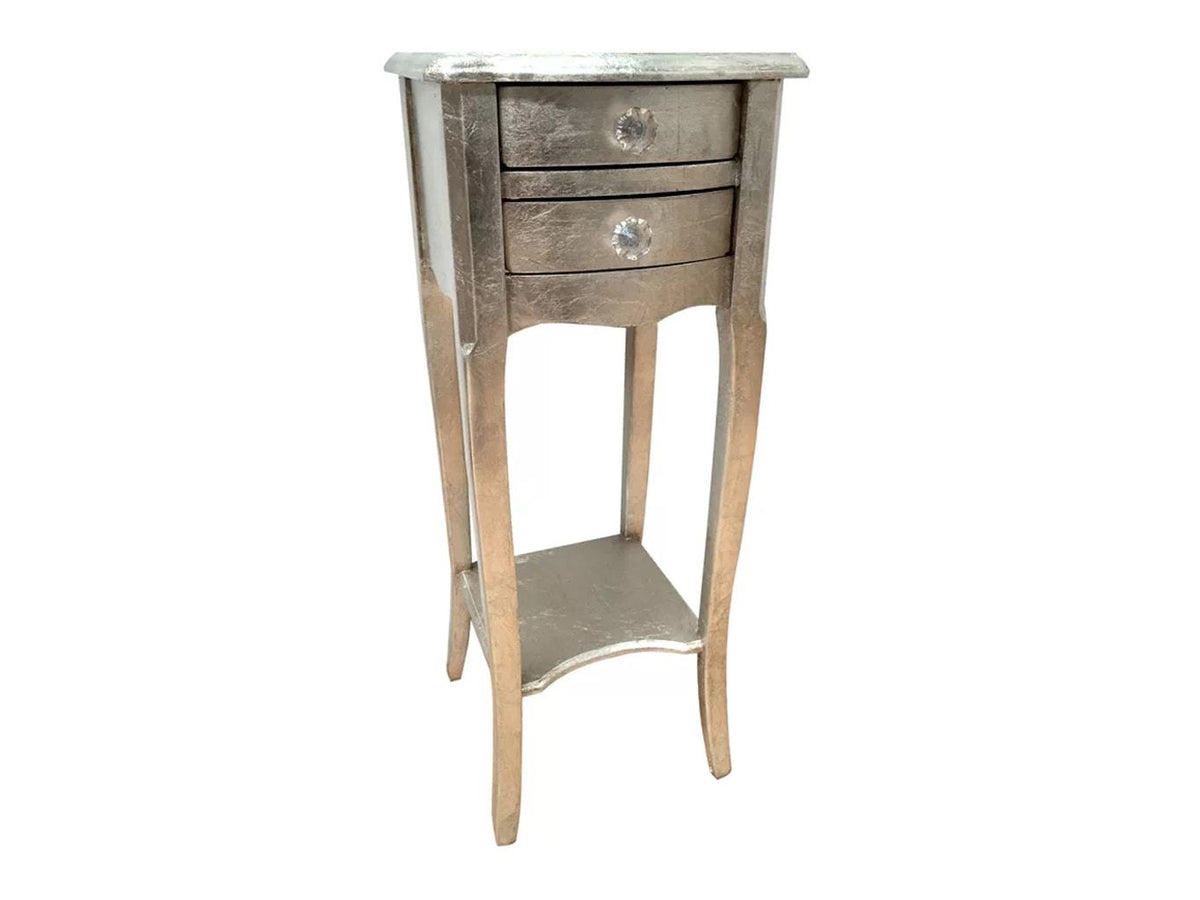 Pair of Silver Bedside Tables with Two Drawers