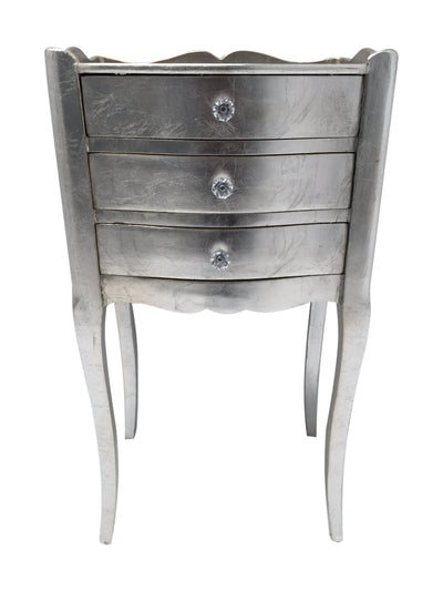 French Style Bedside Table with 3 Drawers and diamante handles