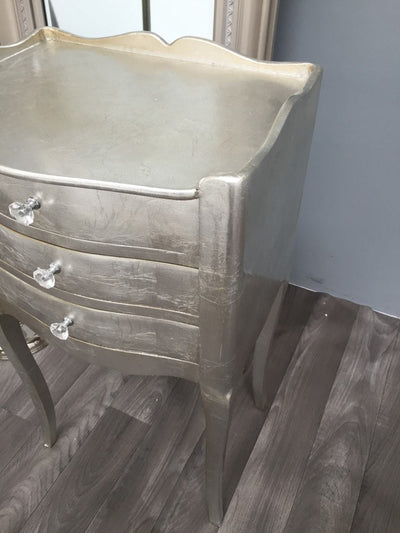 Silver Finish French Style Bedside Table with 3 Drawers