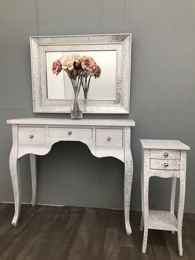 Repousse Side Table with 3 Drawers and White Flowered White Coating