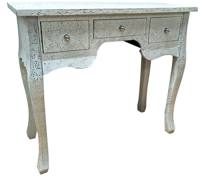 Repousse Side Table with 3 Drawers and White Flowered Coating
