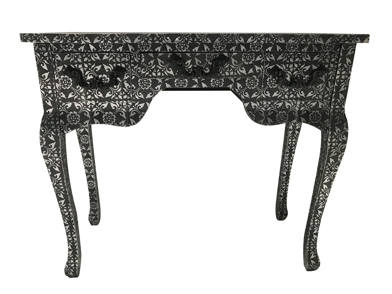 Repousse Side Table with 3 Drawers and Hammered Floral Design