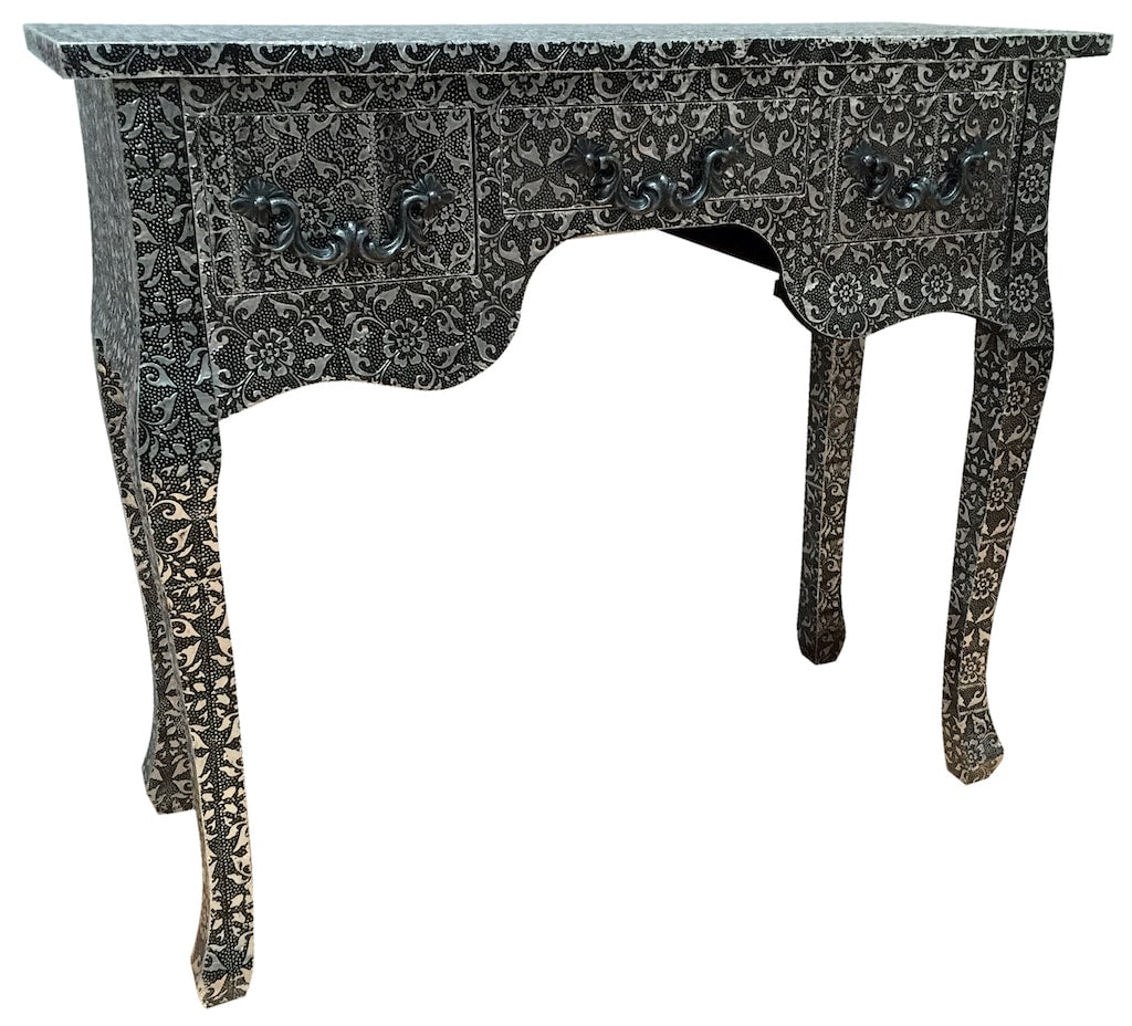 Black Repousse Dressing Table » Hammered Floral Design