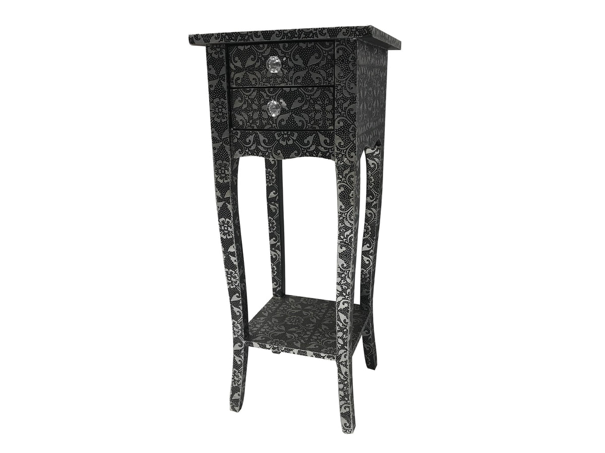 Repousse Small Bedside Table with two Drawers, diamante handles and one Shelf, view from left front angle