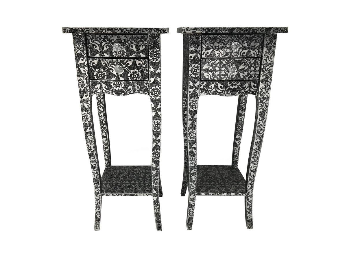 Pair of Repousse Slim Bedside Tables with metal leaf motif
