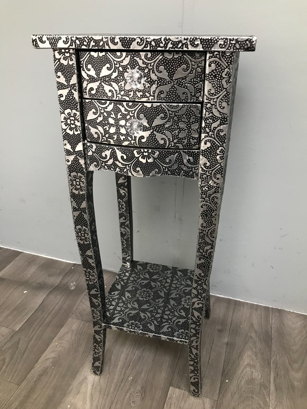 Repousse Small Bedside Table with 2 Drawers and 1 Shelf in Black Finish