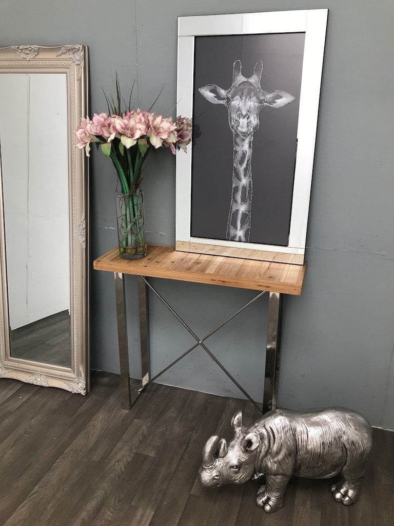 Slim Console Table » Light brown Wooden Top