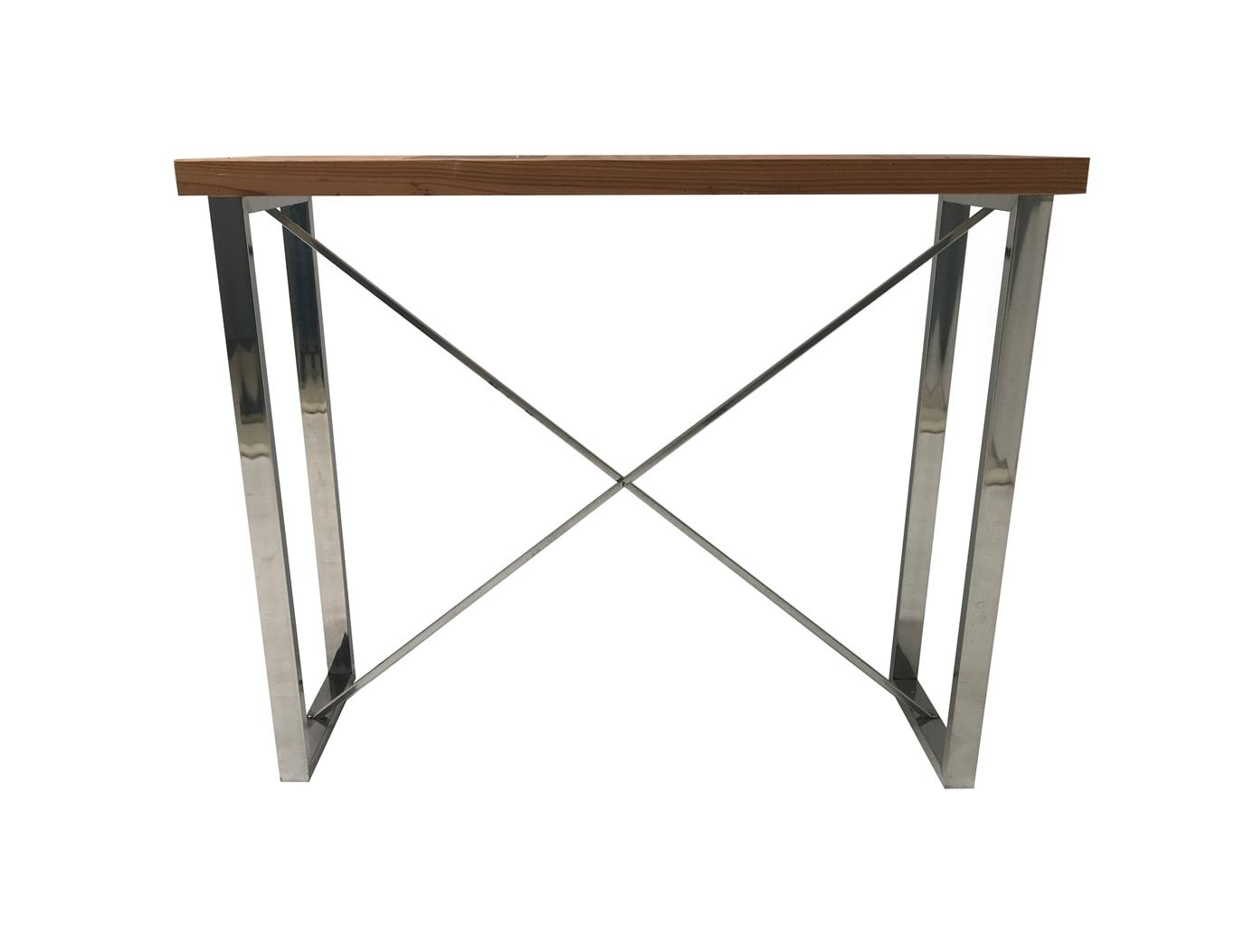 Console Table - Polished Steel X-Shape Legs And Light-Brown Wooden Top