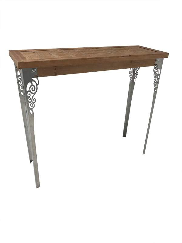 Console Table with Light-Brown Solid Wooden Top and Carved Metal Legs, view from right front angle