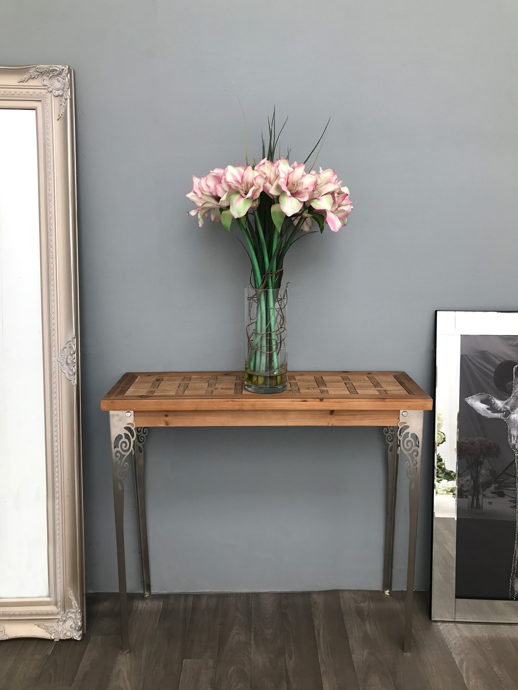 Console Table with Light-Brown Solid Wooden Top and Carved Metal Legs