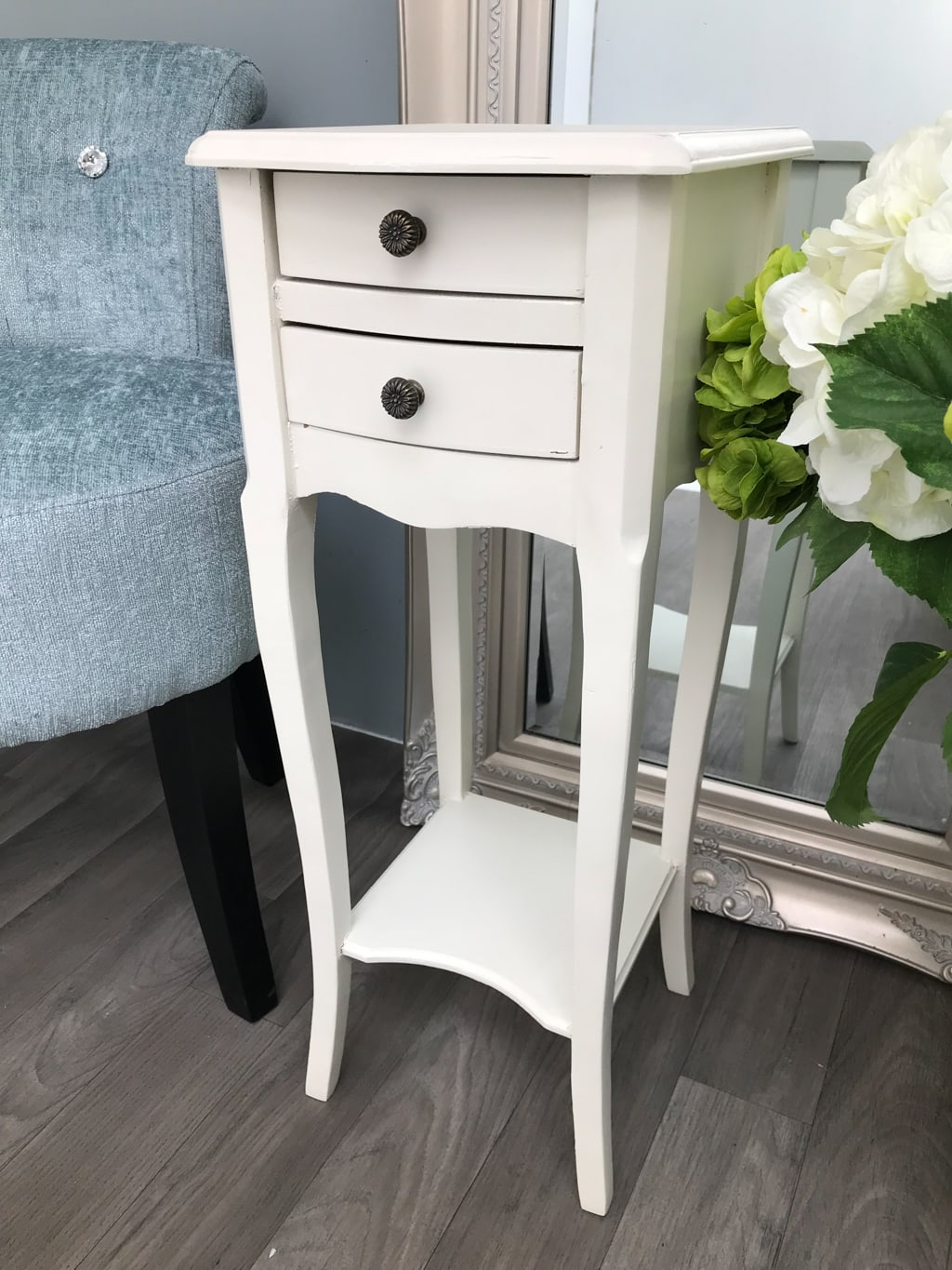 Pair of Slim White Bedside Tables