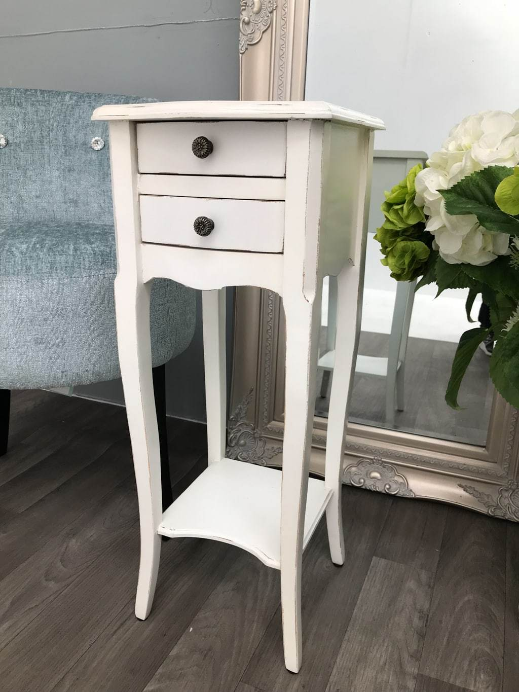 Small Rubbed White Bedside Table with 2 Drawers