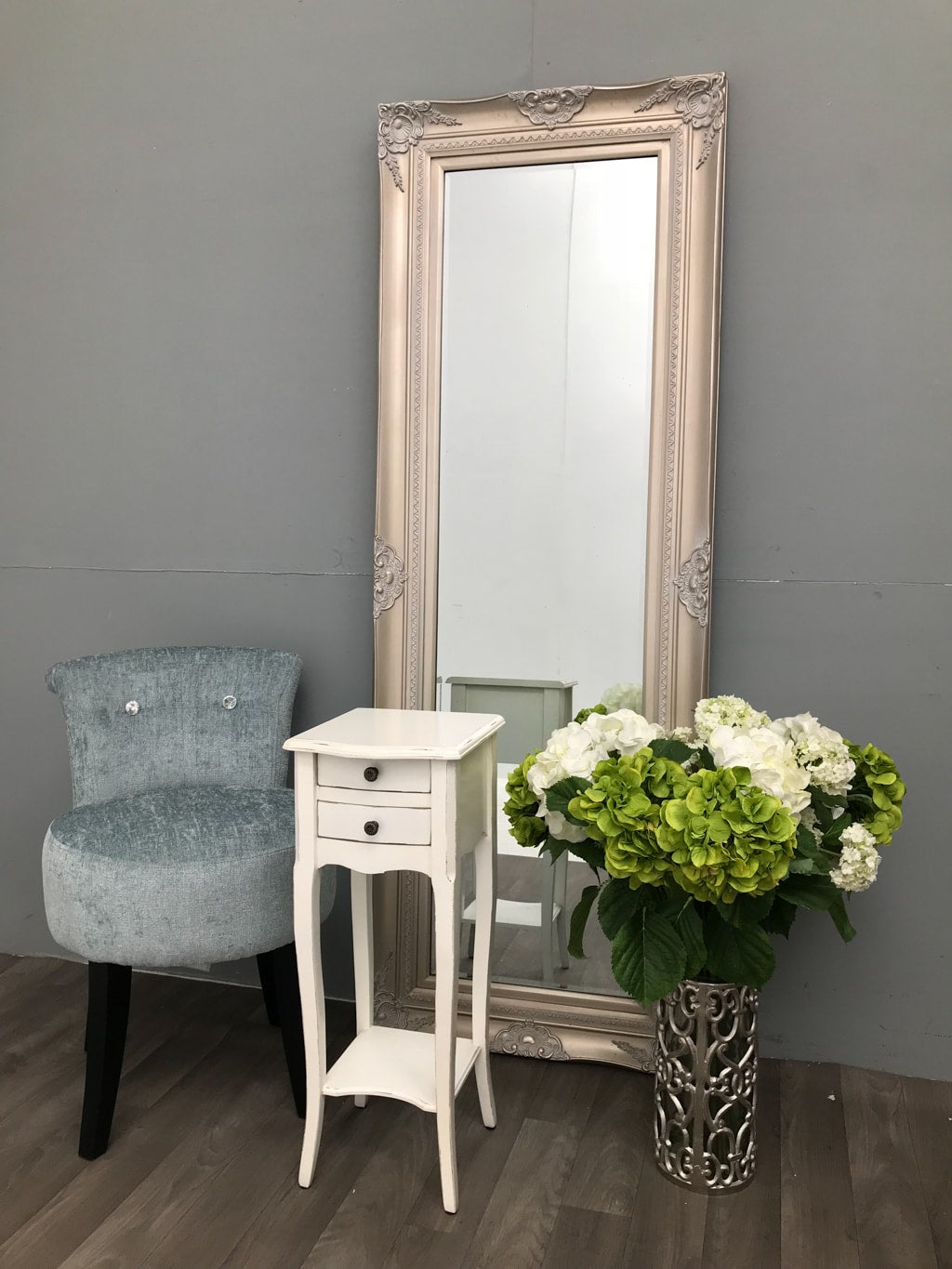 Pair of Small Rubbed White Bedside Tables with 2 Drawers