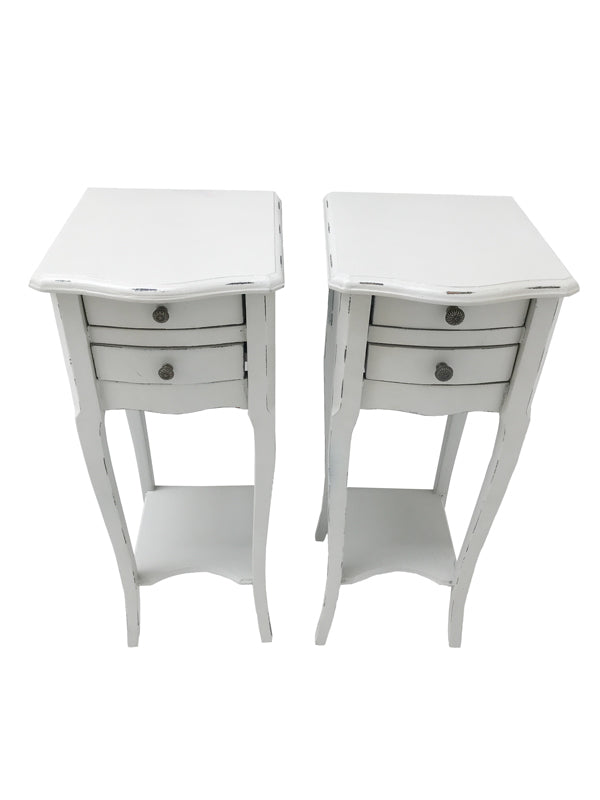 Pair of 2 Drawer Small Bedside Tables in pale grey