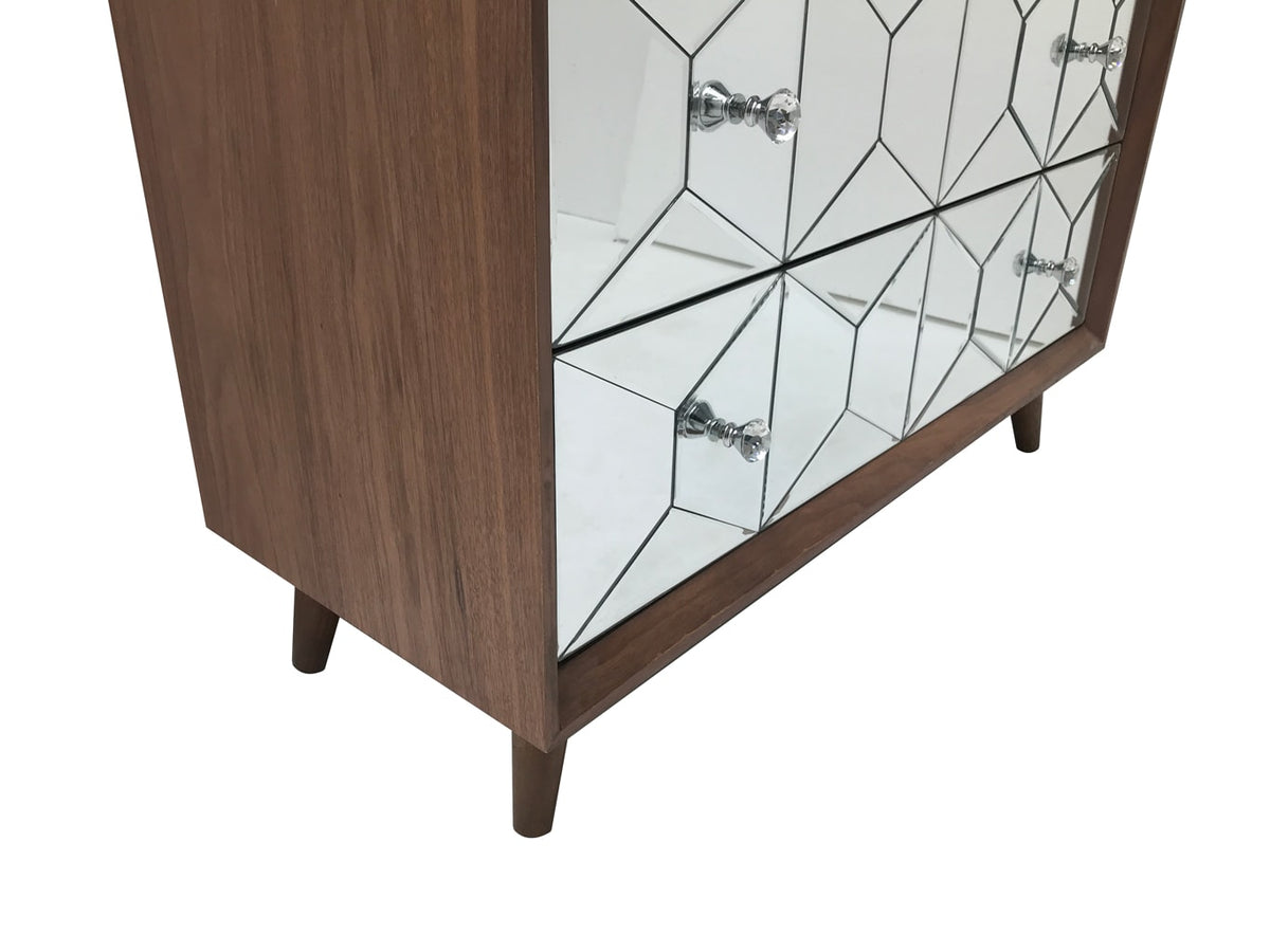 Chest of three drawers with Walnut Top and Glass Front