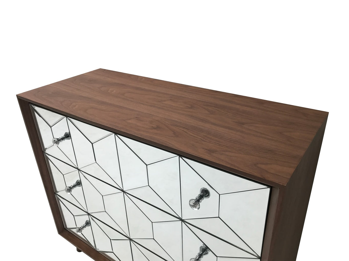 Chest of three drawers with Walnut Top, Glass Front and diamante handles