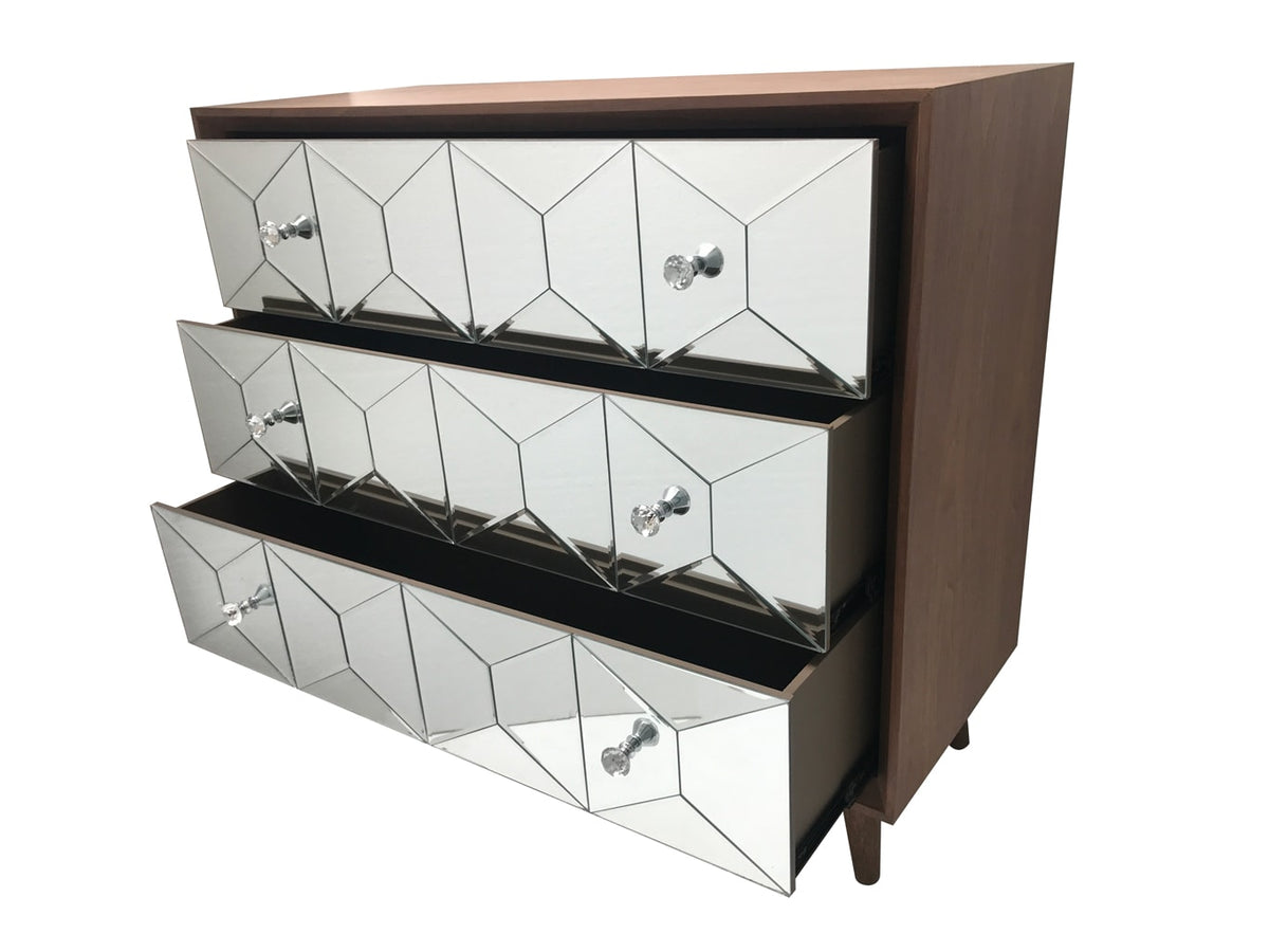Walnut Top and Glass Front chest with three open drawers