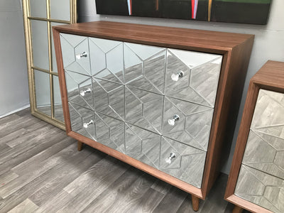 3 Drawer Chest with Wooden Top and Mirrored Front