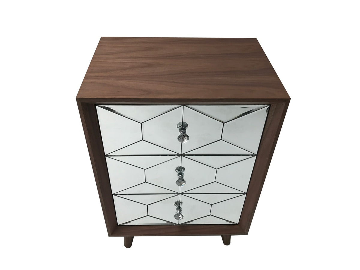 Wood and glass chest of drawers with diamante handles