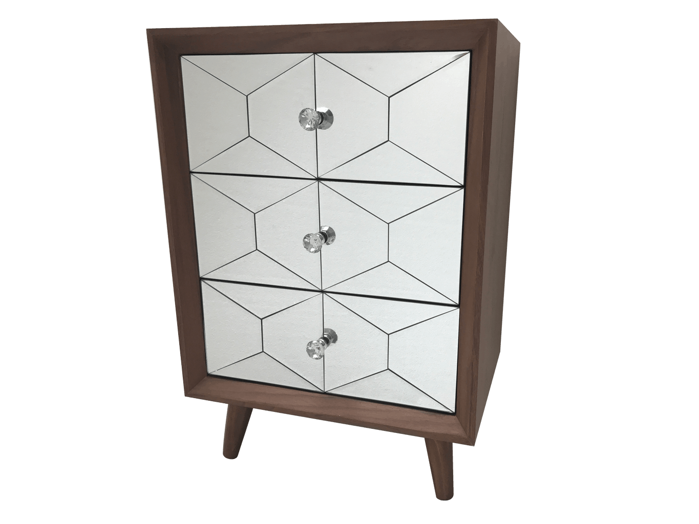 Wooden Top Chest of Drawers with 3 Mirrored Drawers