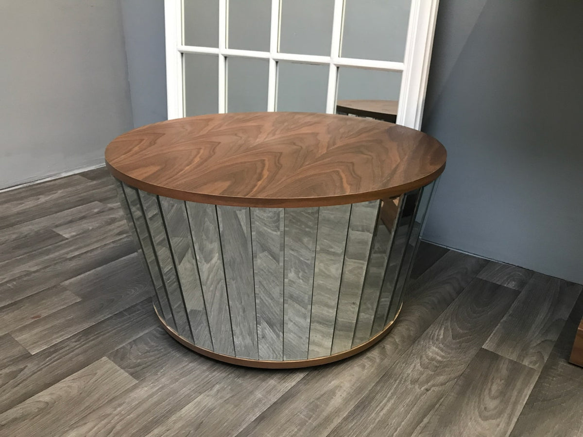 Mirrored Coffee Table with Round Natural Wooden Walnut Top