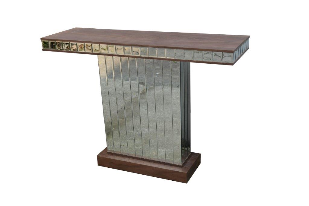 Contemporary Mirrored Console Table with Walnut Wooden Top