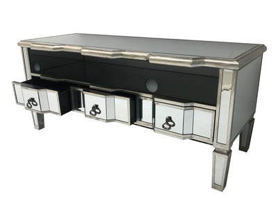 Charleston Mirrored Media Unit with 3 Drawers
