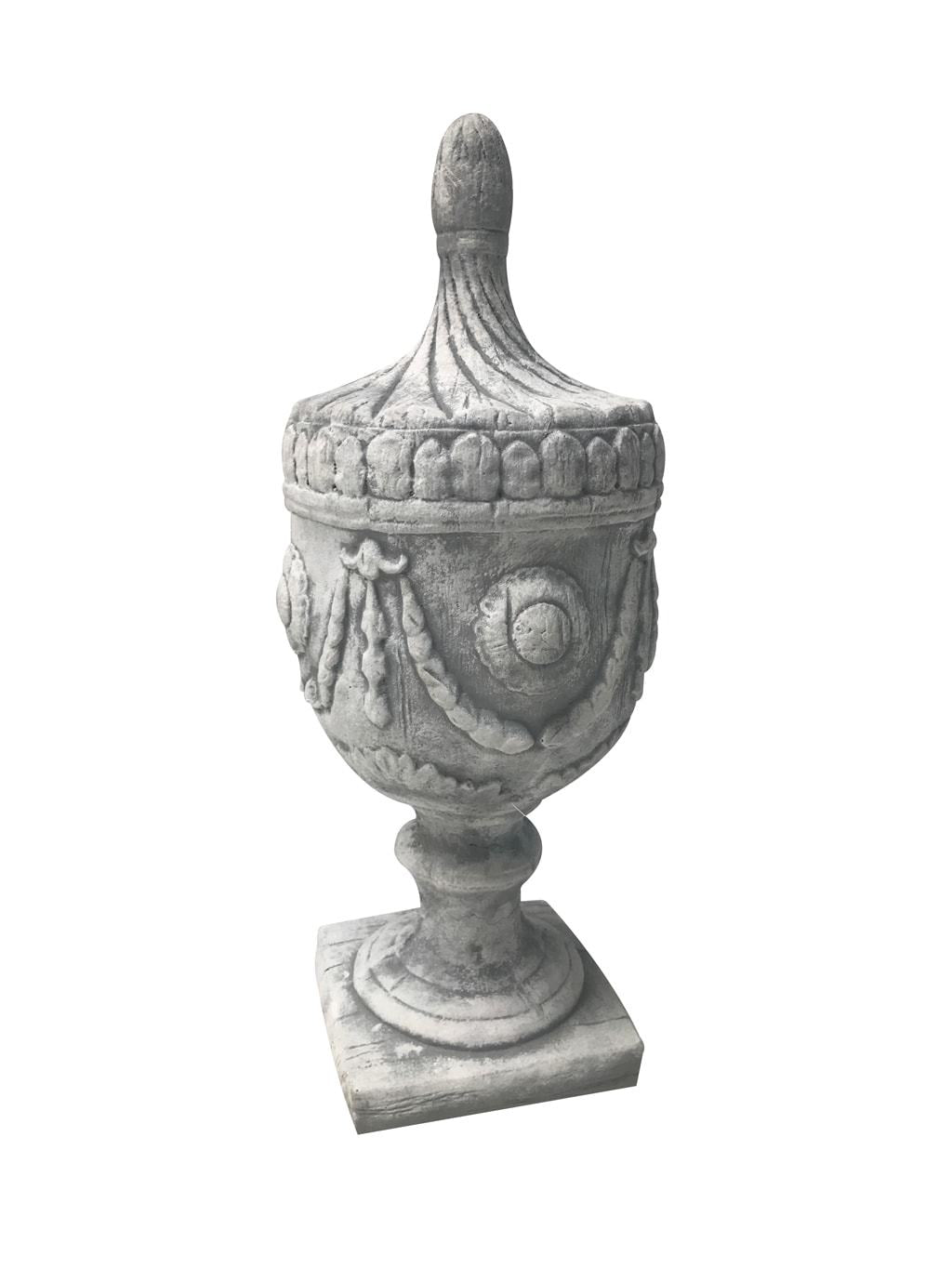 Urn Shaped Decorative Finial Garden Decoration from Antiqued White Stone