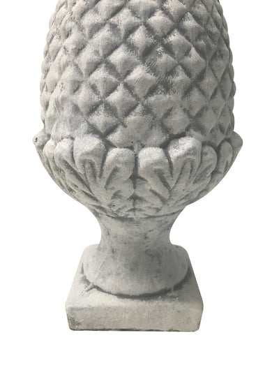 Decorative Finial - Pineapple Fruit Garden Ornament - White Stone