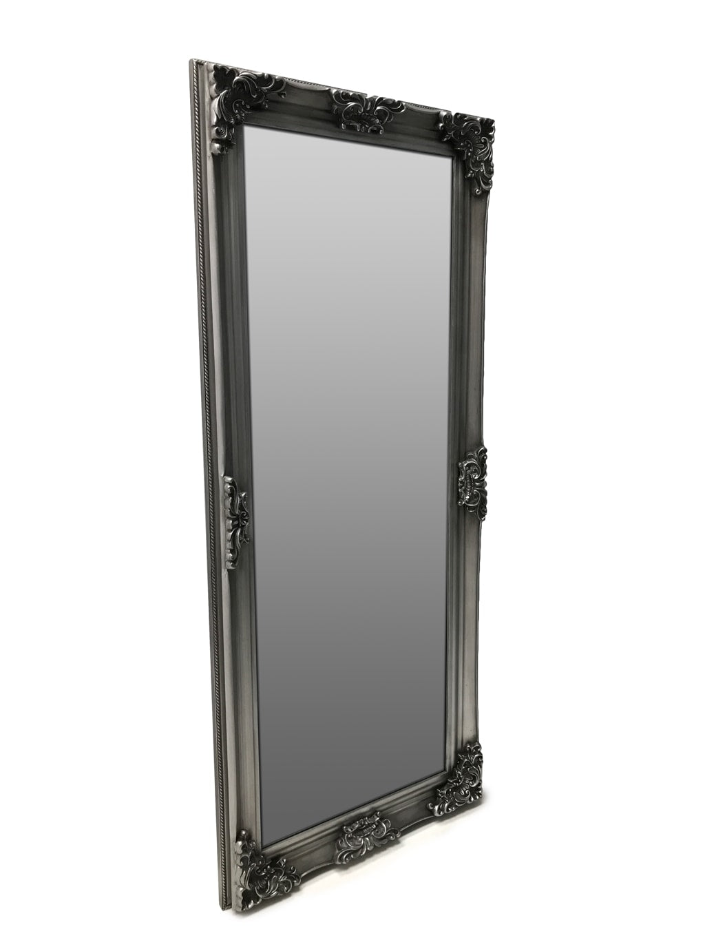 Standing Mirror with antiqued silver frame, vie from front right angle