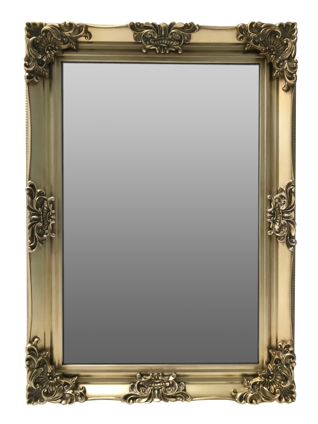 Swept Frame Accent Mirror in Antiqued Gold Finish