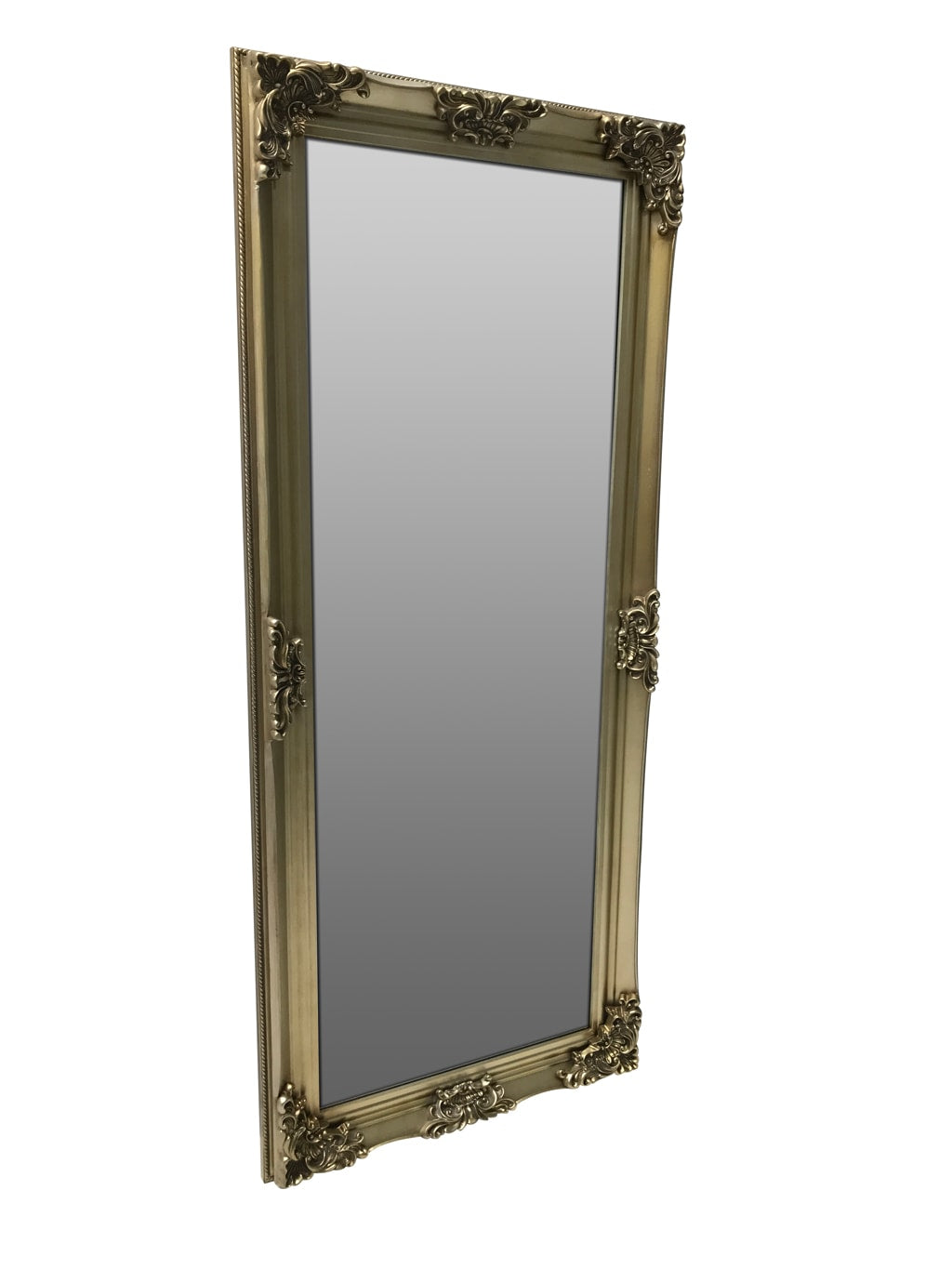 Tall Swept Frame Mirror with Gold Frame, view from right front angle