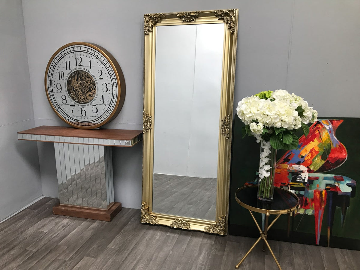 Tall Swept Frame Mirror with Gold Frame