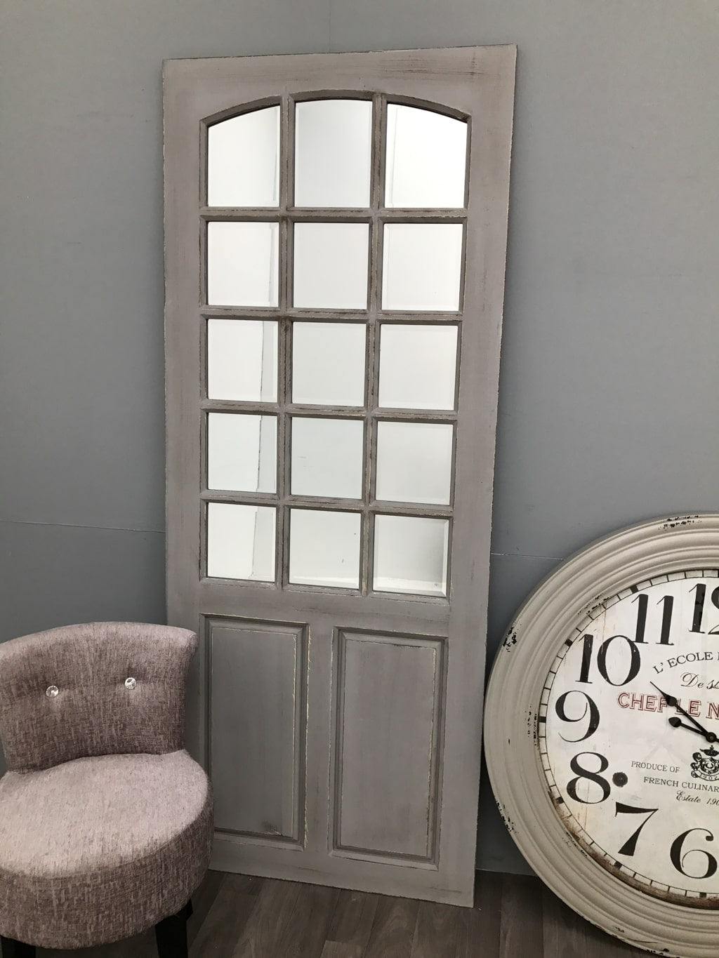 Designer Door With 15 Mirrored Bevelled Panels And Grey Colour Finish