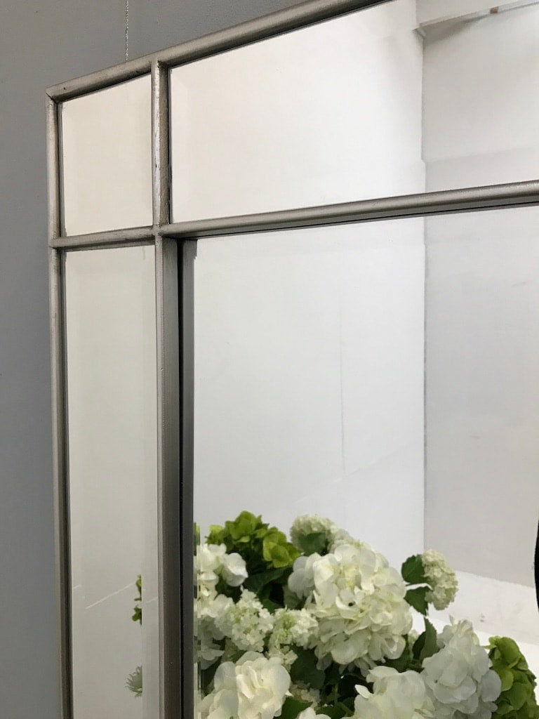 Contemporary Wall Mounted Large Mirror in a Silver Frame