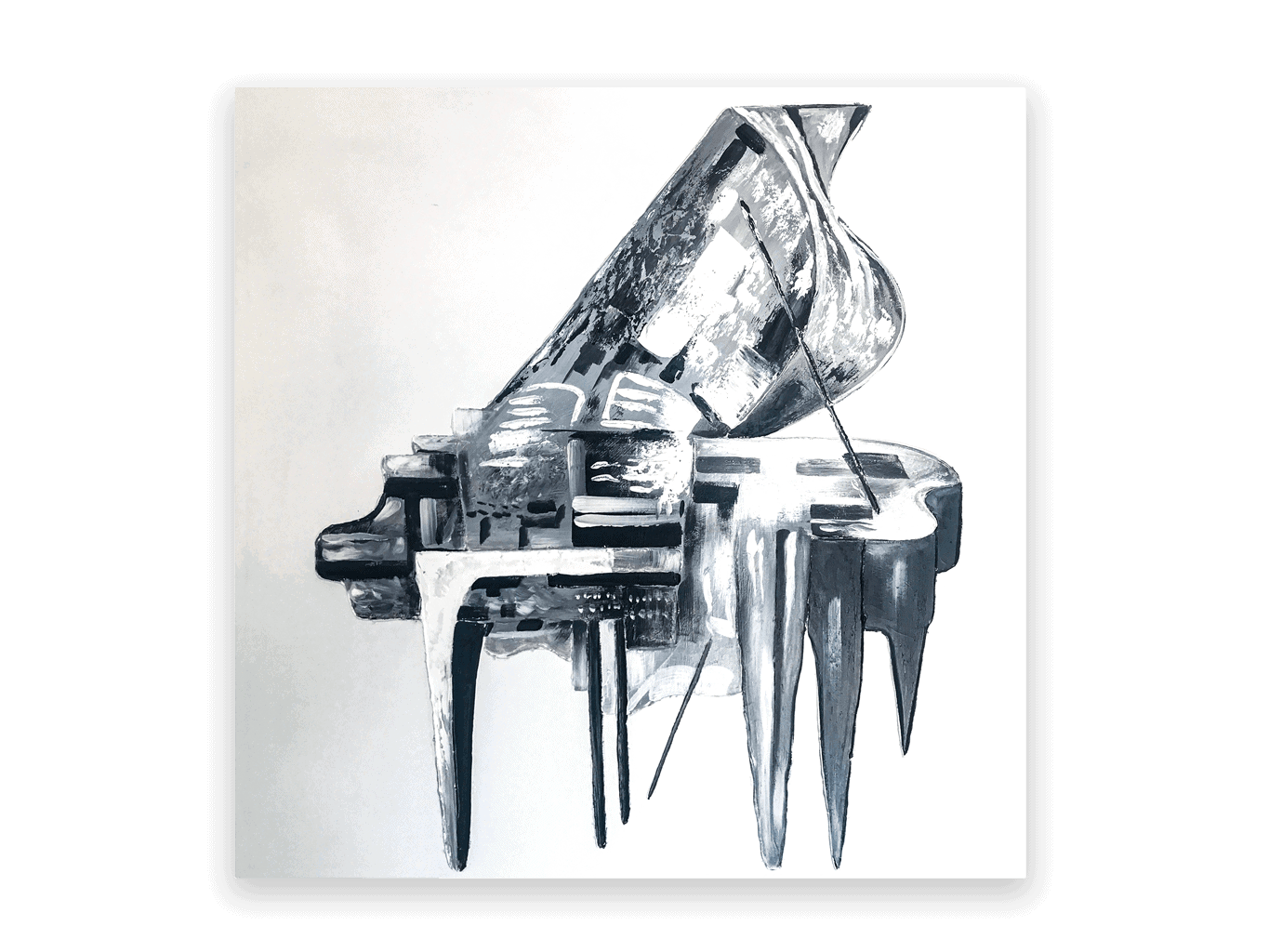 Grey Piano Painting on Canvas Wall Art