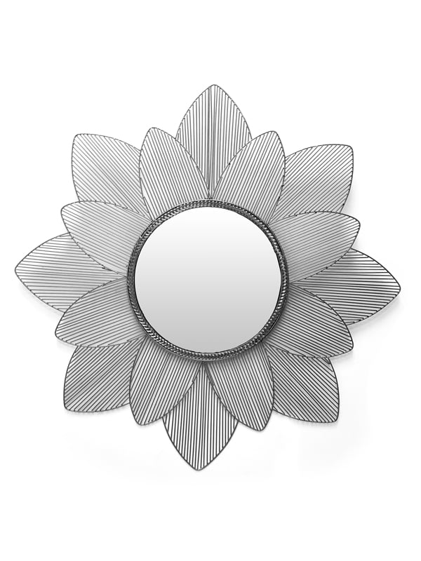 Silver and Black Frame Mirror with Flower Shaped Frame