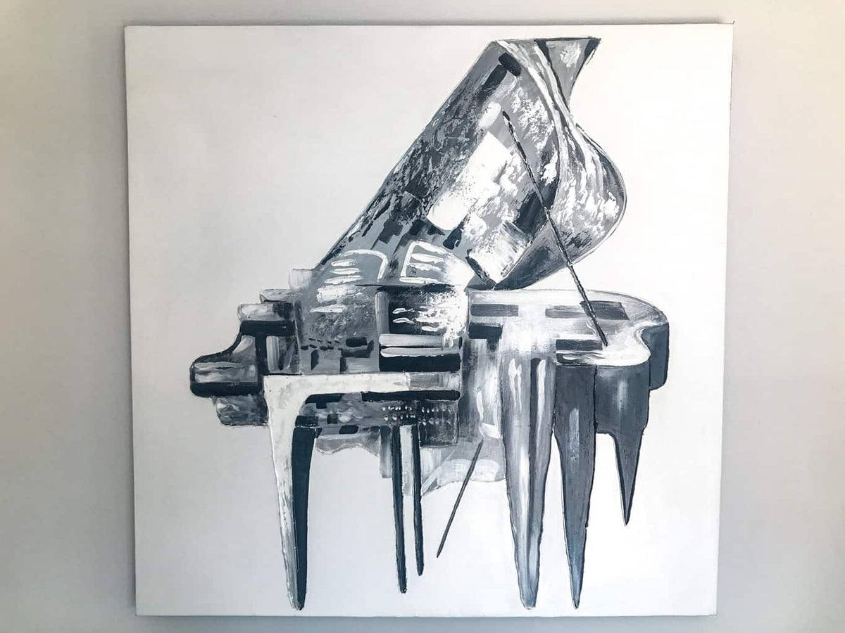 Abstract Grey Piano Painting on Canvas