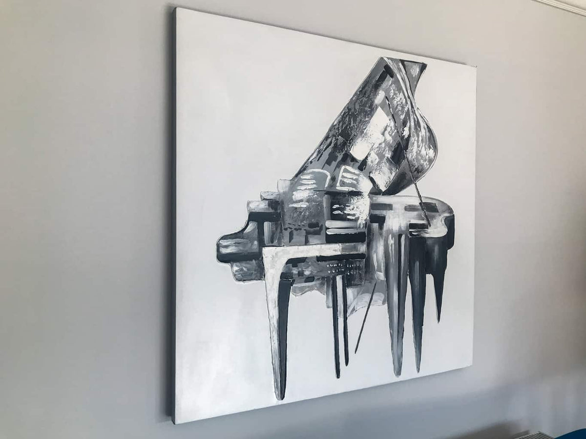 Grey Piano Wall Art on Canvas