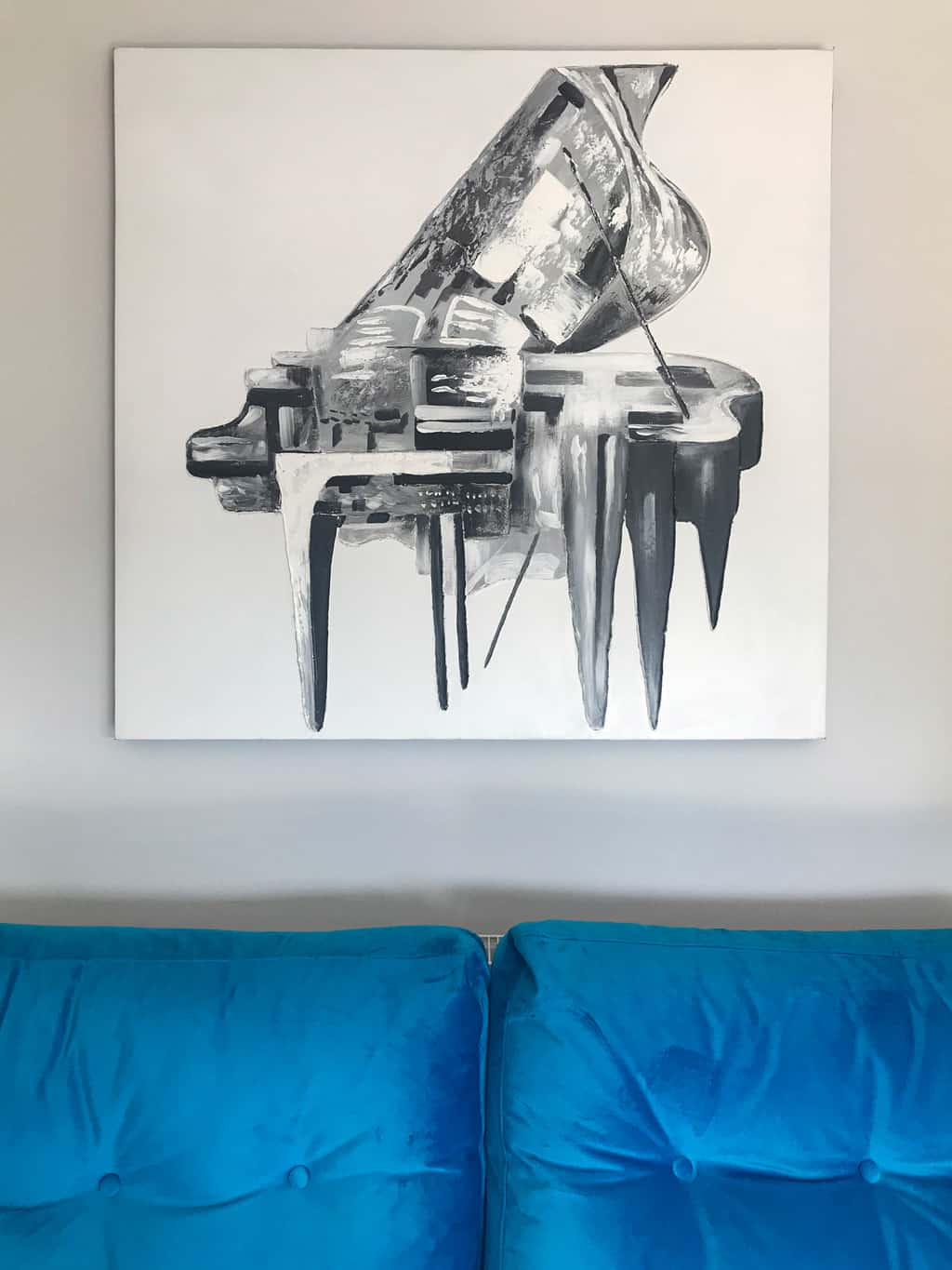 Monochrome Abstract Piano Wall Art Painting on Canvas