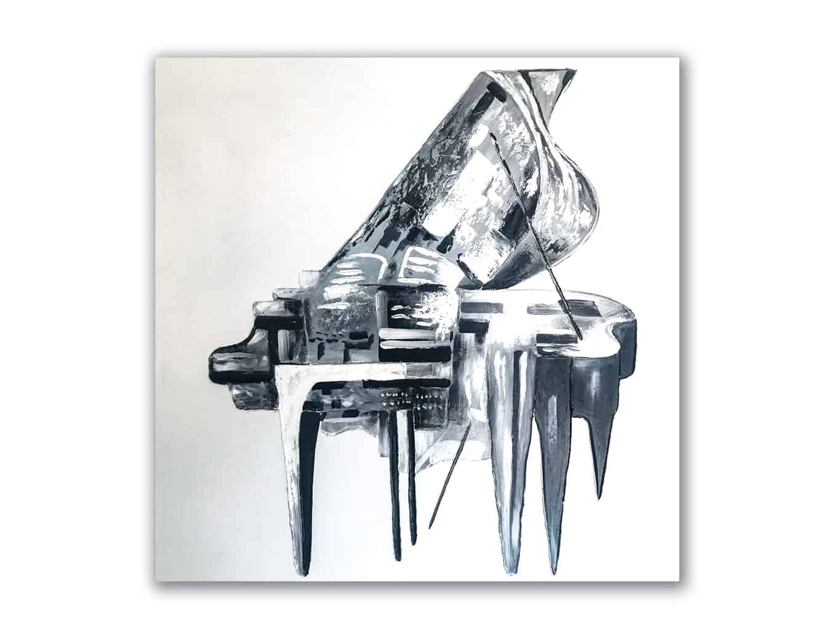 Grey Piano Painting on Canvas