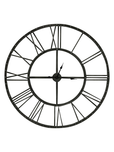 Round Skeleton Wall Clock in Antiqued Silver