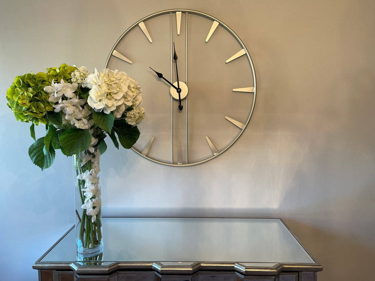 Large Metal Skeleton Wall Clock in Silver