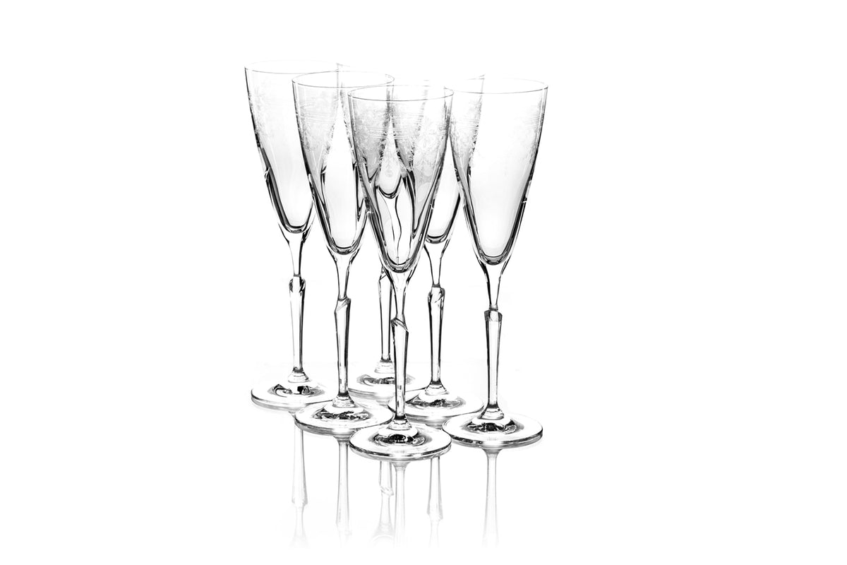 Set of six  295ml First Lady Champagne Flutes