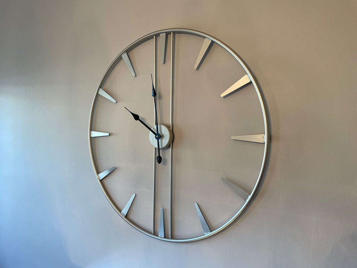 Metal Skeleton Wall Clock in Antiqued Silver