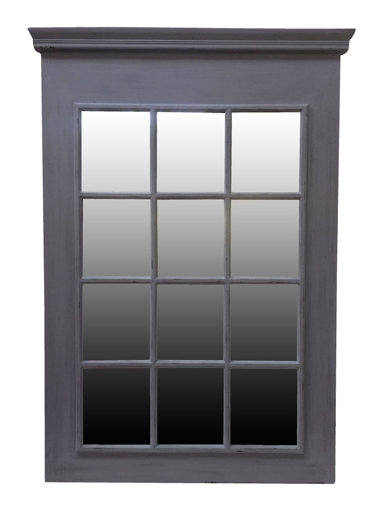 Rectangle Window Mirror in Rubbed grey Frame Finish