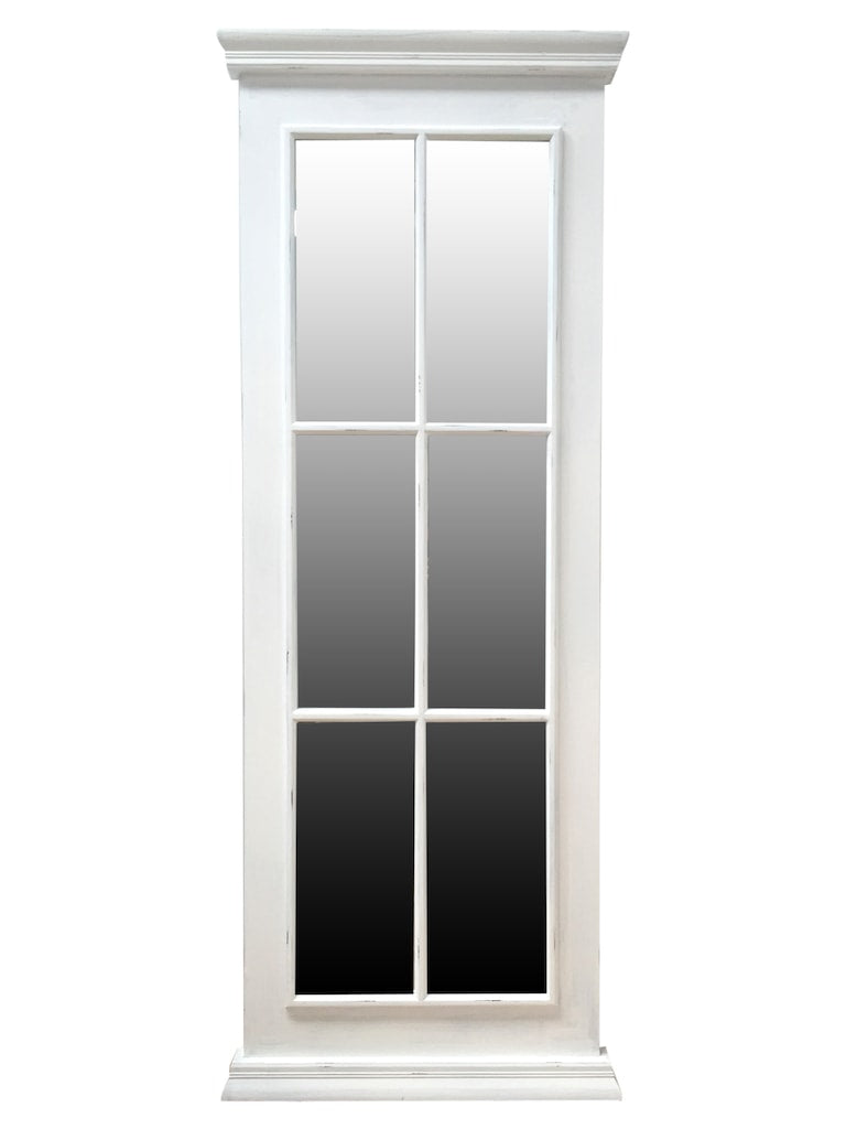 Window Mirror with 6 Glass Panels in White Frame